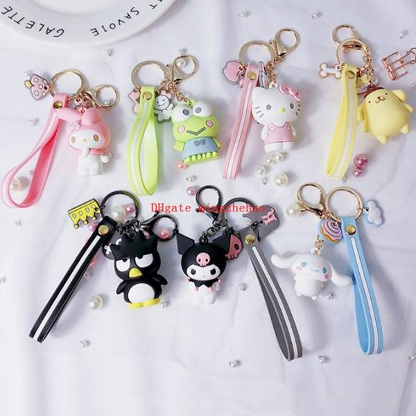 10 Pcs Creative Cartoon My Melody Pudding Cinnamoroll Dog Hello Kitty Cell Phone Keychain Bag Pendant Keyring Pendants for Girls Figure Toy