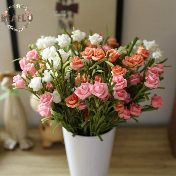 1PC European Style Artificial PE Small Rose 9 Heads Silk Flower American Country Wedding Flower Arrangement Home Decoration