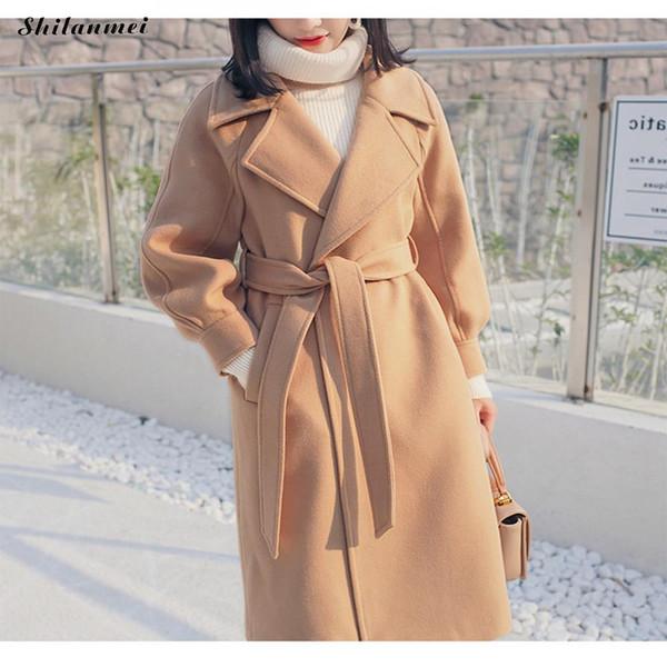 2018 loose warm wool blends long winter coat women turn-down lady work wear elegant collar adjustable belt wool coats office