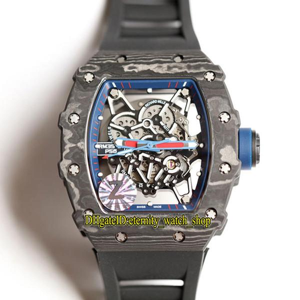 16 cores RM35-02 esqueleto Dial NTPT todos os casos de padrão de fibra de carbono do Japão NH RM Automatic RM 35-02 Mens Watch pulseira de borracha preta Sport Relógios
