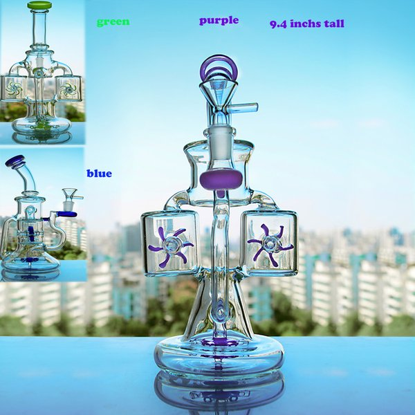 Unique bongs Water Pipes Recycler Dab Rigs Smoking Accessories Water Pipes Thick Glass Water Bongs Hookahs With 14mm Bowl