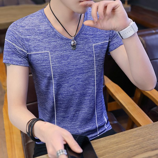 Гонконг Tide с коротким рукавом Мужчины 2019 Новая футболка Ice Silk Trend Корейский стиль Одежда с половиной рукавов Красивый личностный тренд