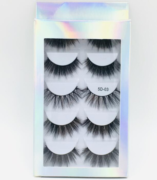 top popular 2019 5 Pairs False Eyelashes with Holographic box,5 pairs Eyelashes with paper box,5 mixed pairs cheap price false lashes 5D01-5D06 2020