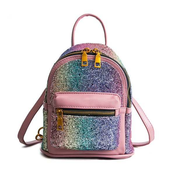 new Cute Mini Backpacks for Girls Leather Purse Bagspack Colorful Sequins Designer Backpack Women High Quality Feminina