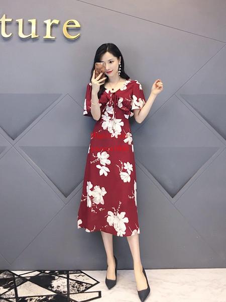 2019 vestidos de Verão Do Vintage Com Decote Em V flor impressão Alta-cintura A-line dress vestidos de moda casual top quality roupas femininas AB-12