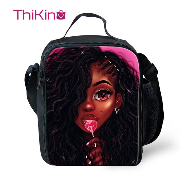 Thikin Pop Jovens afro-americano Meninas almoço sacos para adolescentes meninos moda portátil Padrão Cooler Box dos desenhos animados Tote piquenique Pouch
