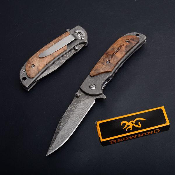 Pequeno Browning 338 Lidar Com Facas De Sobrevivência de Dobramento de madeira 440 57HRC Padrão Tiger Lâmina Tático Pocket Camping EDC Caça Dom Facas P717M R