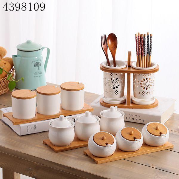 Kitchen utensils creative ceramic seasoning bottle and sugar bowl seasoning box set household storage bottle kitchen storage