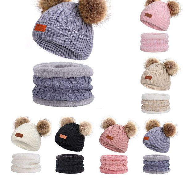 Winter Children's Knitted Muffler Cap Two-Piece Cute Pom-Pom Baby Knit Hat Warm Wool Plus Thick Collar N7Z
