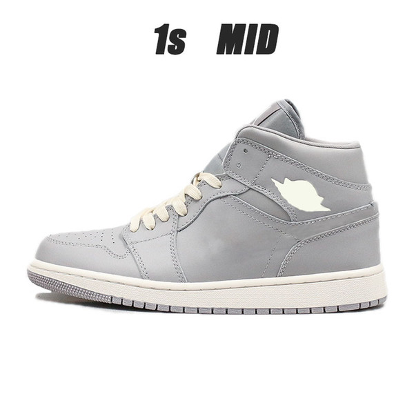 New Cushion Basketbasll 1s Mid Cut Grey Men Women Breathable Running Shoes Outdoor Athletic Sport Shoes
