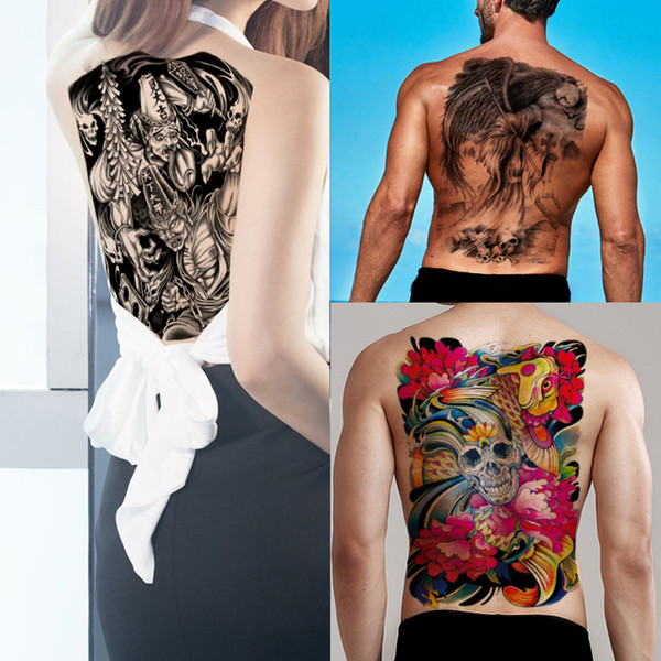 Death Decal Big Large Temporary Tattoo Skull Cross Flower Fish Black and White Impermanence Sticker Fake Full Back Cool Fashion Chest Tattoo