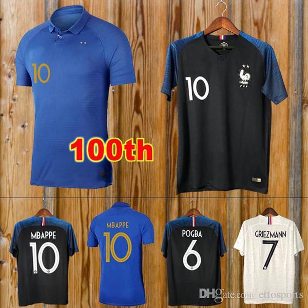 camiseta de fútbol 2018 copa del mundo Maillot de foot equipe 100 aniversario GRIEZMANN POGBA MBAPPE KANTE 2019 GIROUD camiseta de fútbol 100 años