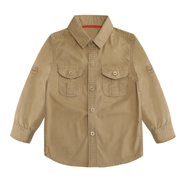 Boys Designer Shirts 2019 Summer New Luxury Solid Color Shirt Fashion Lapel Thin Jacket British Style Casual Top Childrens Clothes
