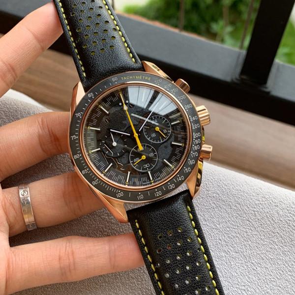 Orologio da uomo nuovo Orologio vk quarzo con movimento elettronico Vetro minerale temperato Cinturino in pelle nera Orologio di lusso 43mm 12mm Con scatola X 786