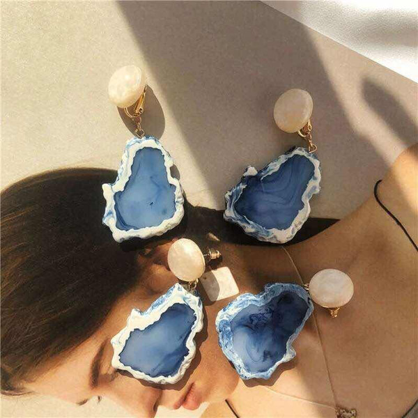 MENGJIQIAO New Vintage Simulated Marble Stone Irregular Statement Drop Earrings For Women Girls Jewelry Blue Elegant Pendientes
