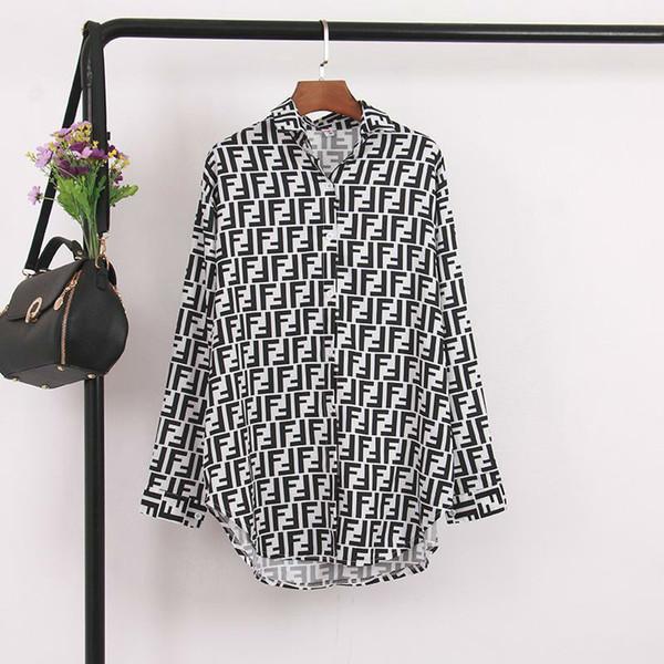 2019 nuevas mujeres s doble letra F impresión de cuello casual moda suelta de manga larga media blusa larga camisa tops negro gasa más tamaño