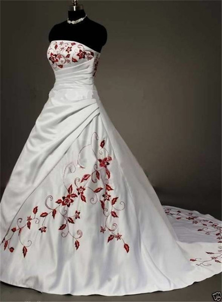 Strapless Ball Gown Wedding Dresses with Embroidery Long Bridal Dresses with Pleated Chest Custom
