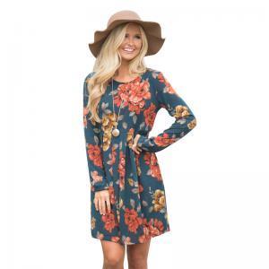 Women Beach Dress Girl Floral Print Long Sleeve swing Dresses Summer Casual Beach Dress skirt lady home clothing 10colors GGA1589