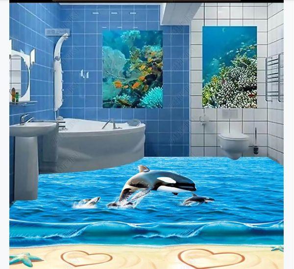 Customized 3D Self-adhesive floor photo mural wallpaper 3D Ocean Beach Whale Starfish Love Waterproof Bedroom Bathroom Floor Painting