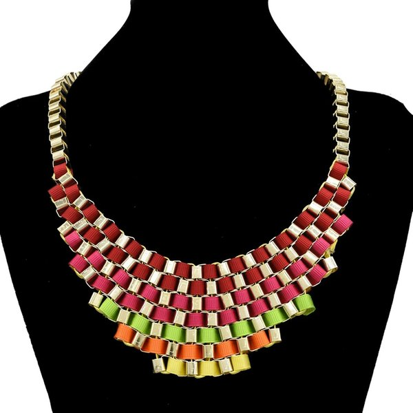 top popular Europe Style Noble Gold Plated Multilayer Colorful Ribbon Stripe Weave Necklace 2021