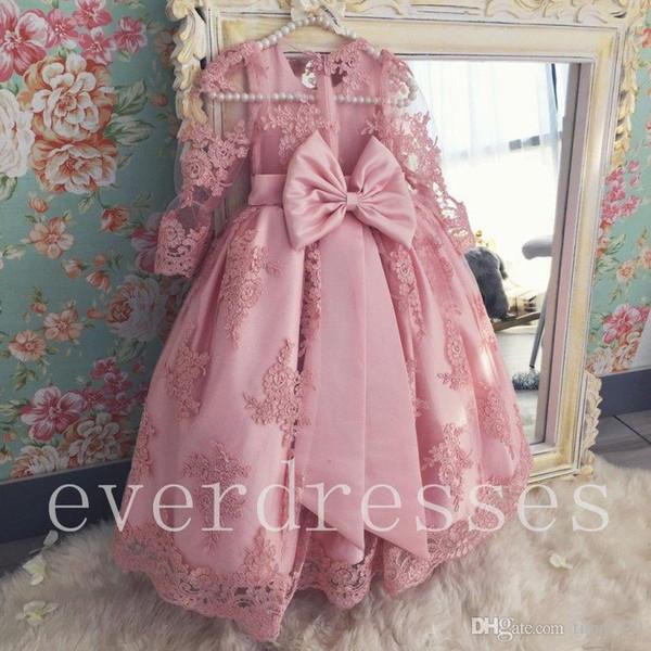 Light Pink Little Baby Flower Girl's Dresses Princess Corset Back First Communion Dresses for Weddings Cheap Vestidos Kids Formal Wear