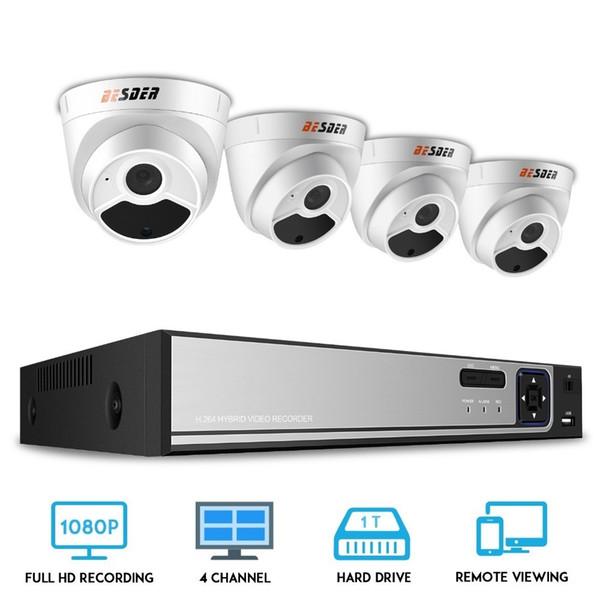 BESDER 4CH 1080p HDMI CCTV System 48V POE NVR Kit 4pcs 2.0MP Dome IP Cameras IR Indoor Outdoor Video Surveillance CCTV Kit XMEye