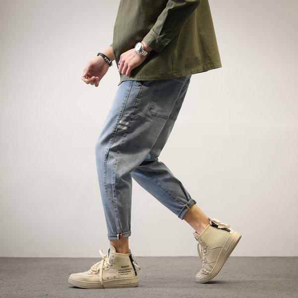 Autunno Jeans Uomo Moda pantaloni larghi in denim di grandi dimensioni 2019 Nuovo uomo con coulisse Bottone Streetwear Pantaloni casual in denim