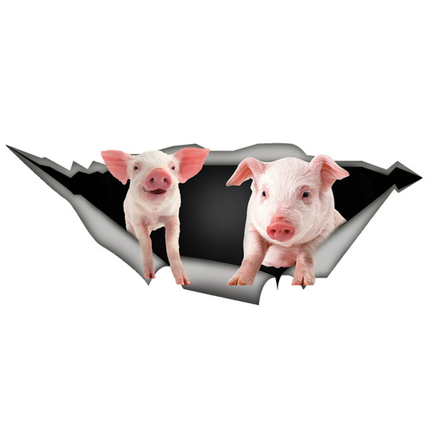 Home Decor Pig Closestool Mural Dog Refrigerator Waterproof Sticker Wall 3D Cute
