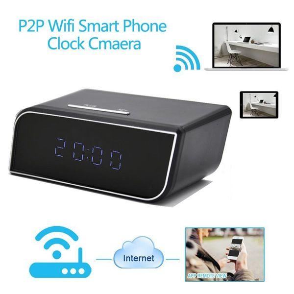 WIFI reloj P2P Cámaras IP HD 1080 P H.264 Despertador MINI DV DVR con visión nocturna por infrarrojos Mini Reloj monitor de bebé