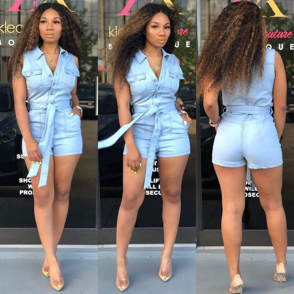 Hot Street New Fashion Donna lavato pagliaccetto Denim Hot sexy bottoni giù senza maniche con cintura Skinper Pagliaccetto Plus Size Blu online