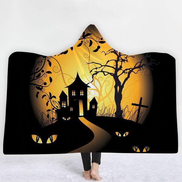 38 Styles Halloween Cartoon Pumpkin Bat 3D Printed Plush Hooded Blanket for Beds Warm Wearable Soft Fleece Throw Blankets