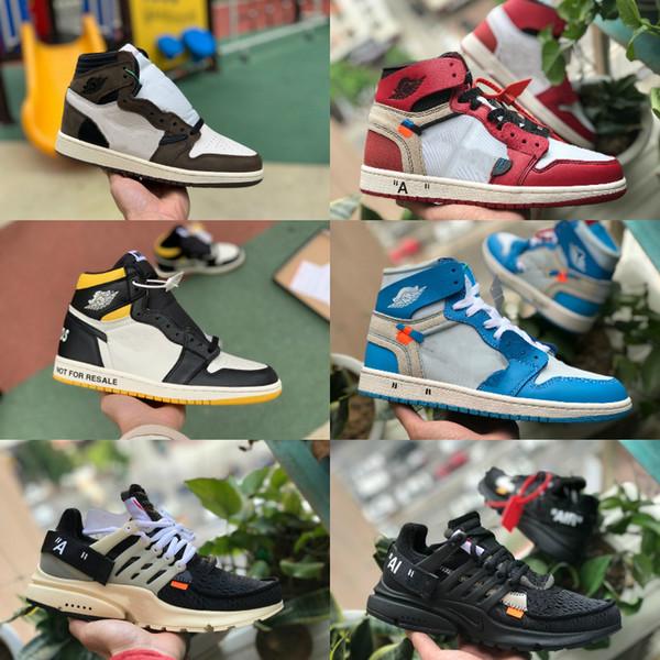 2019 New Travis Scotts X 1 Alta OG Meados Sapatos de Basquete Barato Real Proibido Bred Preto Branco Toe Homens Mulheres 1s Não Para A Revenda V2 Presto Sapatos