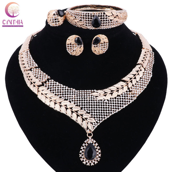 CYNTHIA Top Exquisite Dubai Jewelry Set Luxury Gold-color Nigerian Wedding African Beads Jewelry Set Costume Design