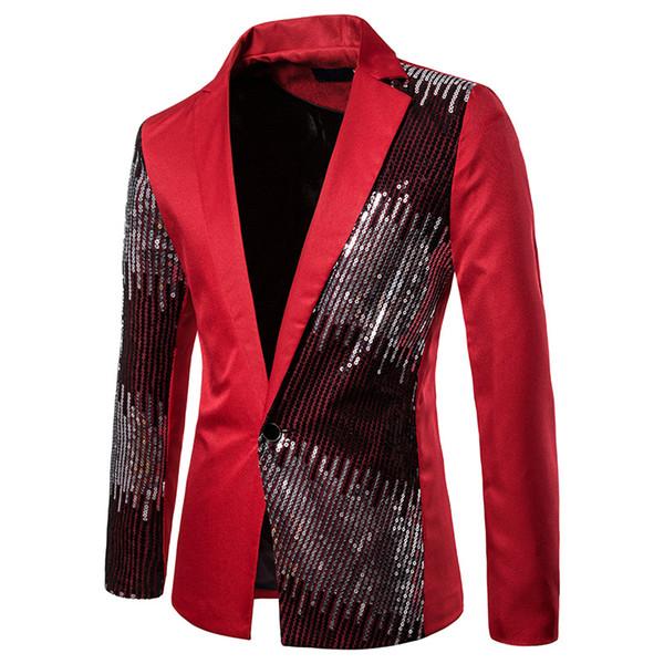 2019 Hombres brillante de lentejuelas Blazer Jacket Coats boda casual para hombre del partido Blazers otoño ocasionales adelgazan la manga larga de la chaqueta del juego Red