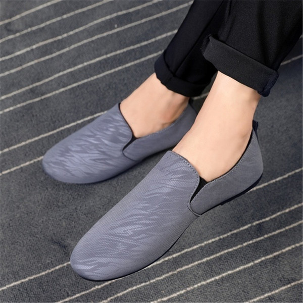 Mens Slippers British Pedal Lazy Shoes Casual Shoes Indoor Outdoor Slip on House 2019 New Bean Basic Size 39-44 Gray