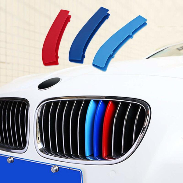 best selling M-Colored Stripe Grille Insert Trims for 2011-2013 BMW F10 5 Series 528i 535i 550i Kidney Grills