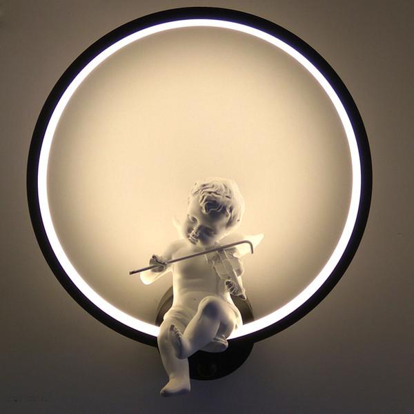 Vente chaude Lampes Murales intérieur noir blanc mur éclairage minimaliste art Bougeoir Intérieur avec ange Home Decoration mur