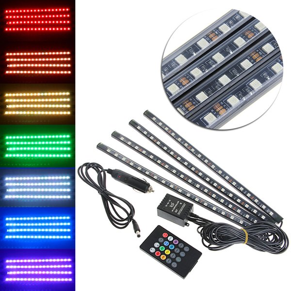 Car Styling 9 12 18 SMD Car Interior Floor RGB LED Strip Light Lamp Kit With Remote Music Control For Decoration