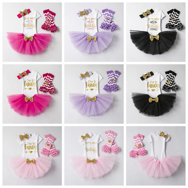 Es ist mein Geburtstagskleid Baby Girl Ich bin so ausgefallene Tops Rock Stirnband Socken Outfits Rock Mädchen Party Infant Tutu Kleinkind Kleidung Sets AAA1809