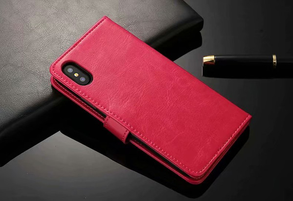 Book styles Crazy horse wallet leather phone cover Case For Iphone Xr Xs max X 8 7 plus