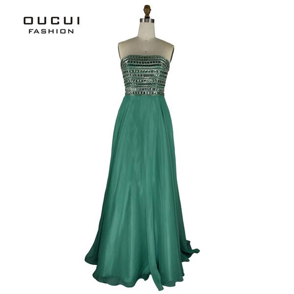 Verde smeraldo Perline Paillettes Corpetto Abiti da ballo lunghi 2019 Sweetheart Lovely A-Line Chiffon Dress Party Robe Soiree OL102295