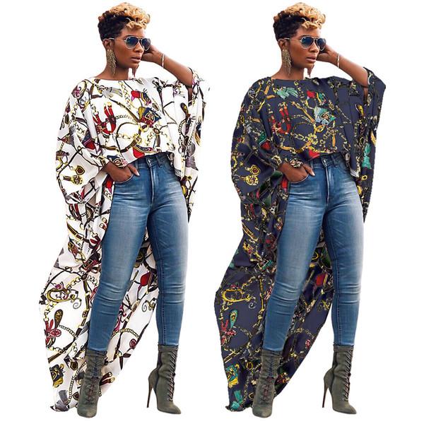 Magliette lunghe irregolari per donna grande catena d'oro stampato breve anteriore lungo posteriore moda camicetta manica corta