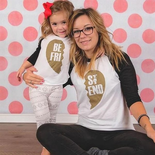 Popular Family Mom Kids Summer FRIEND Letters Print Female Long Sleeve T-shirt Tops BE FRI Kids Tees T Shirt