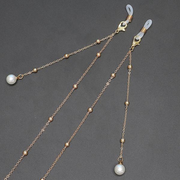 Portacatena per occhiali da sole vintage per donna Moda Occhiali per catena da uomo in metallo con perle imitazione perle occhiali da vista cinturino cordino cordino