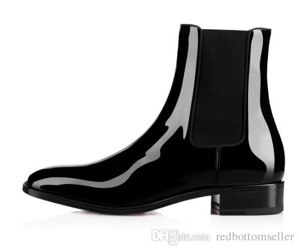 a44637175b8 2018 Famous Red Bottom Boot Men Shoes Black Patent Leather Samson ...
