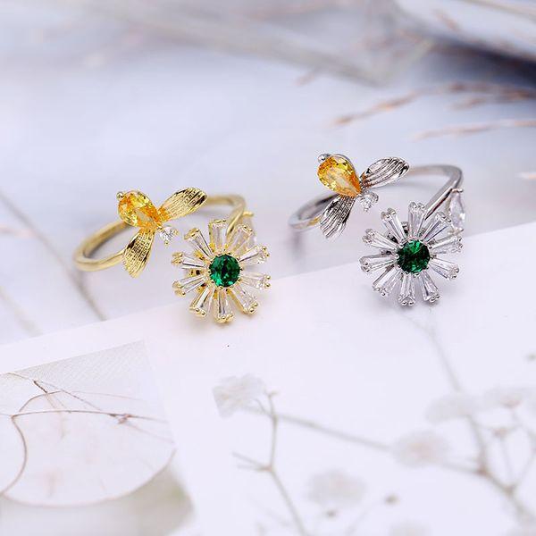 Popular abeja daisy ring mujer Han red marea estudiante puede ser girado personalidad moda anillo giratorio tendencia de lujo refinado joyería de circón