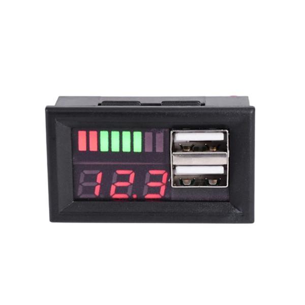Medidor del panel de la batería del voltaje del voltímetro de la motocicleta del coche de 12V Digital con salida del USB 5V