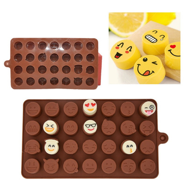 6-Cavity QQ Emoji Schokoladenformen 2 Farben Silikon Eisform QQ Ausdruck Fondantkuchen Formen Utility Küche Backwerkzeug 20 Stücke DHL
