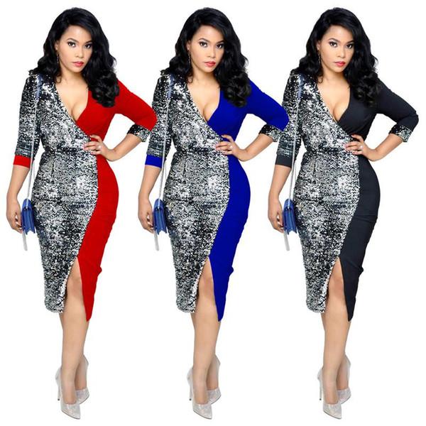 Kontrast Renk Patchwork Bandaj Elbiseler Kadınlar Seksi 3/4 Kollu Sequins Eklenmiş Parti Elbise Zarif V Boyun Geri Fermuar Robe Femme NZK-1581