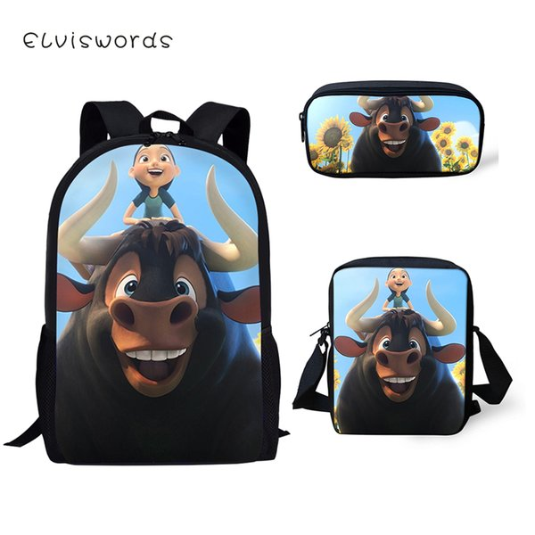 ELVISWORDS 3PCs Set Zaino per bambini Cartone animato Ferdinand School Book Borse Zaino per studenti di moda / Borse a tracolla / Penna